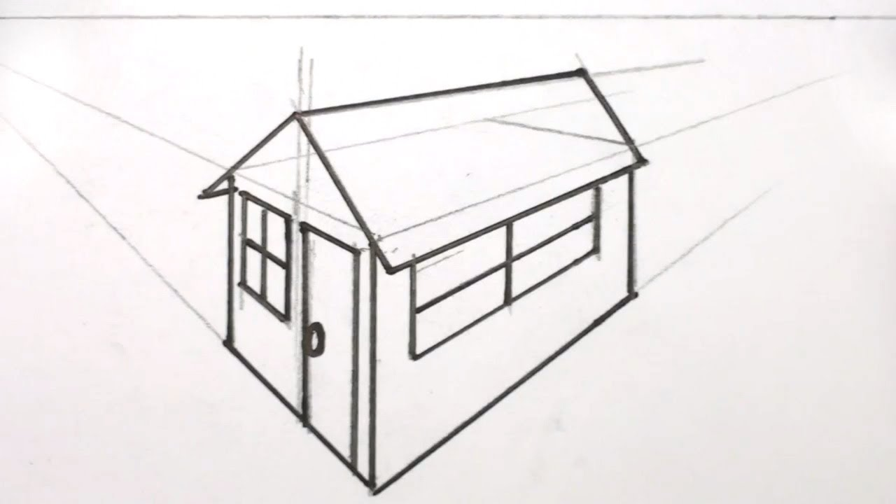 How to draw a house 3d in two point perspective youtube for Draw your house