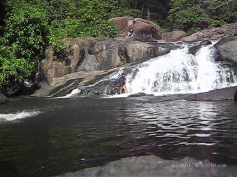 Swimming in Waterfall Kanchanaburi Thailand   You need to see this!