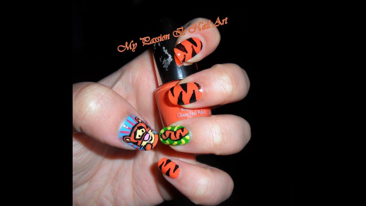 Simple Little Tigger nail art tutorial- nail art piccolo ...