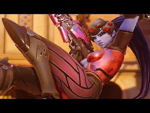 Overwatch - 'ROSE' Widowmaker Gameplay (COMMON SKIN)