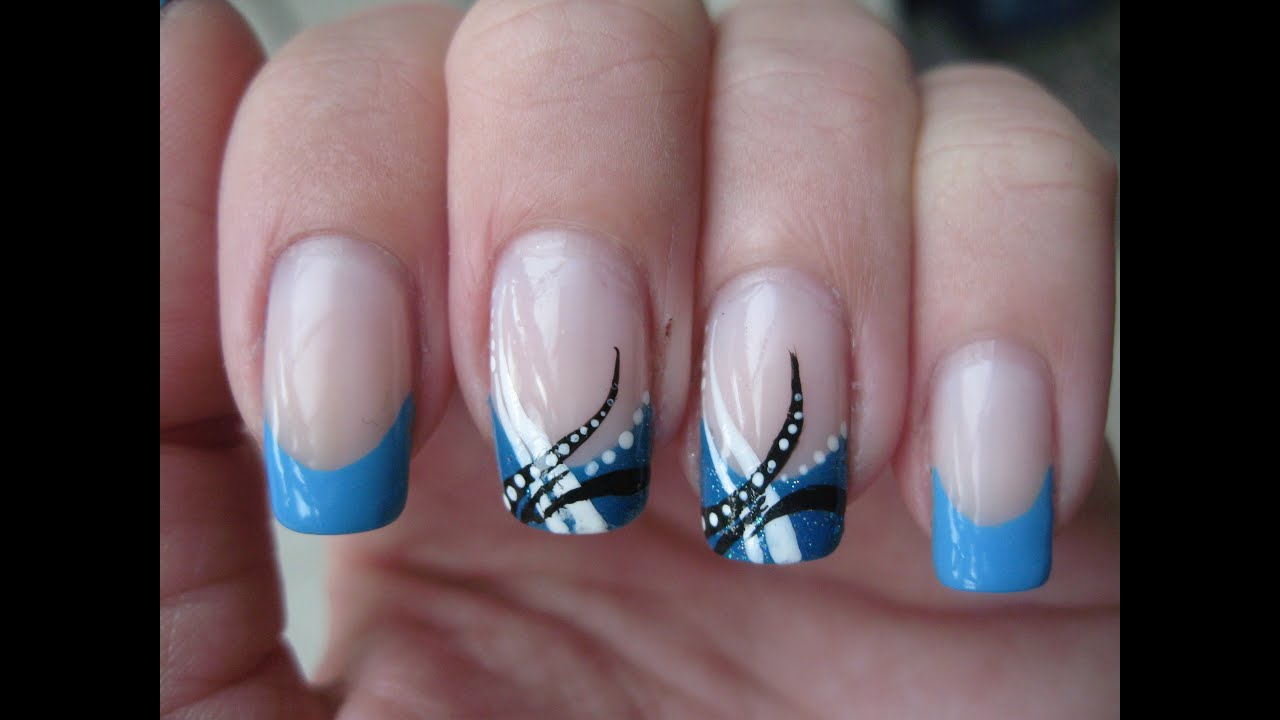 Nail art: Abstract Baby Blue - YouTube