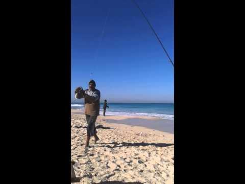 فرحة أول سمكة للحج فتحى البسيونى من صيد الشاطىء