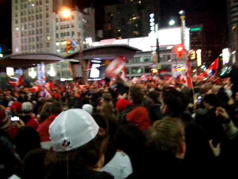 Yonge Dundas Square in Toronto after Team Canada wins gold in hockey 2010