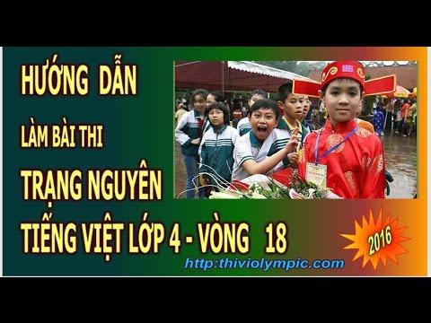 Thi  Trạng nguyên Tiếng Việt Lớp 4 cấp thành phố Vòng 18 năm 2016