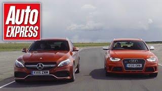 Mercedes-AMG C 63 Estate vs Audi RS4 track battle