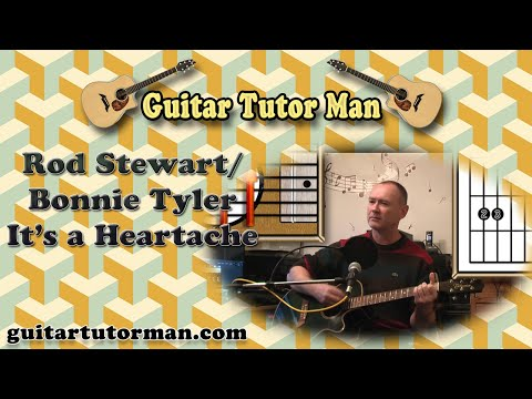 Its A Heartache - Rod Stewart / Bonnie Tyler - Acoustic Guitar Lesson (easy)