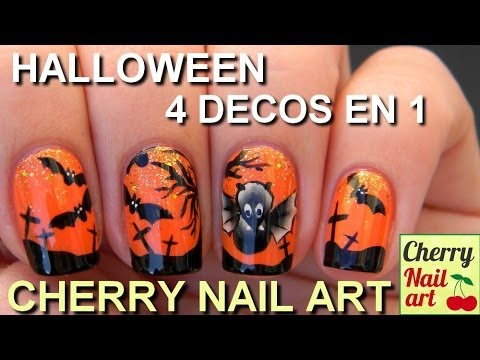 HALLOWEEN nail art chauve souris