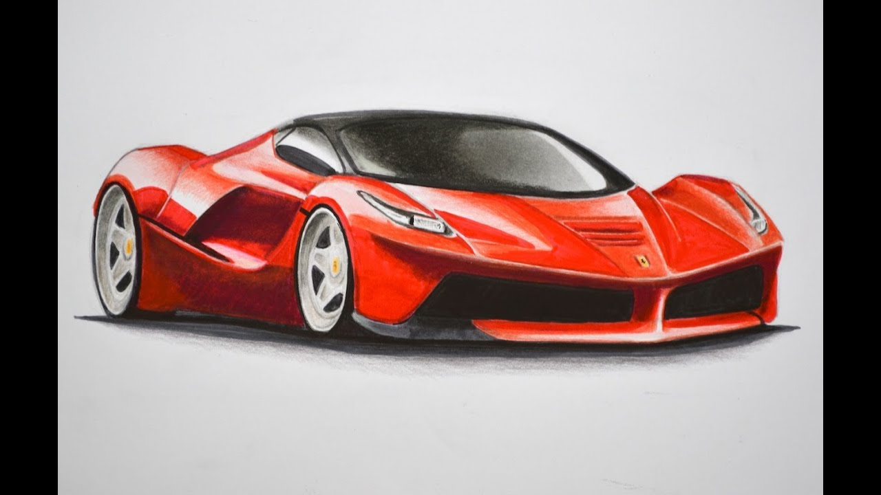 how to draw a ferrari with colors how to draw a car youtube. Cars Review. Best American Auto & Cars Review