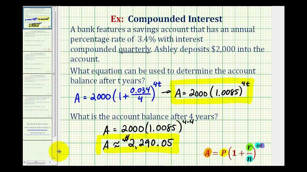 Ex 1: Compounded Interest Formula - Quarterly - YouTube
