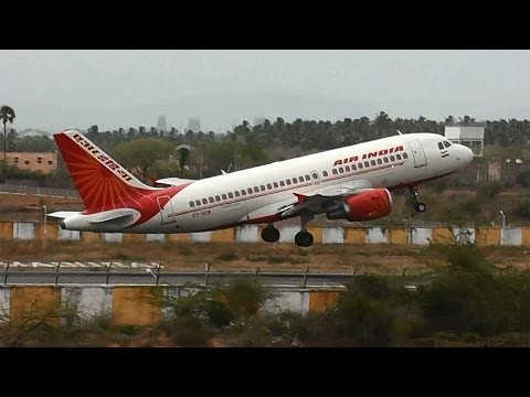 Air India Airbus A319 departs Madurai for Chennai (VT-SCW)