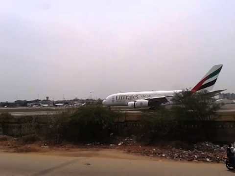 Emirates/ Airbus A380 Landing at Begumpet Airport/Hyderabad/India