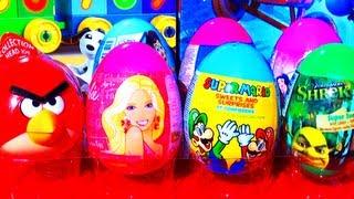 8 Surprise Eggs Angry Birds SpongeBob Littlest Pet Shop Barbie Disney Princess Toy Story Super Mario