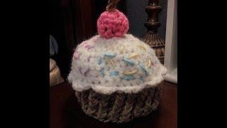 Tutorial Crochet Newborn Baby Cupcake Beanie.