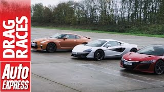McLaren 540C vs Honda NSX vs Nissan GT-R drag race: plucky Brit takes on Japanese beasts. Auto Express.
