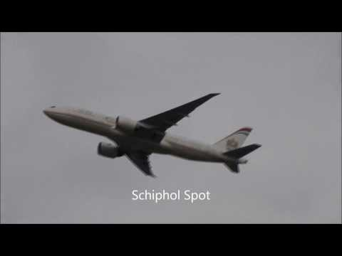 Etihad airways FIRST B777-200LR Takeoff Amsterdam Airport Schiphol (Schiphol Spot)