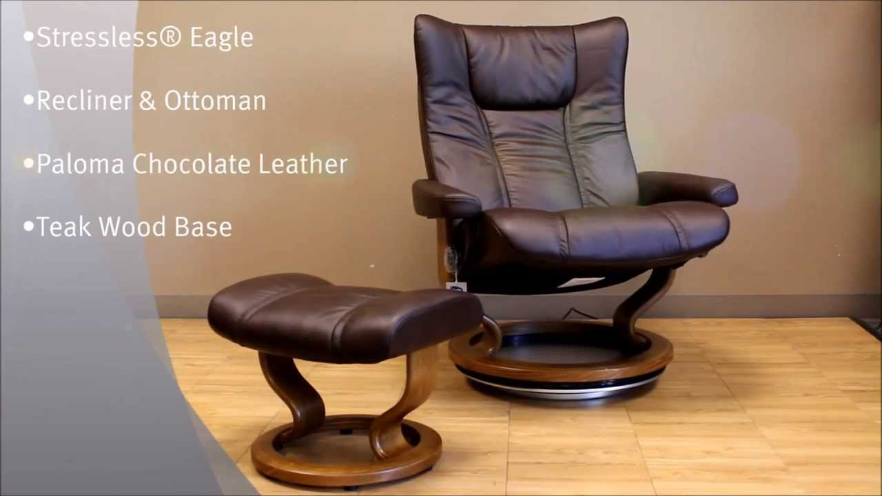 Stressless Eagle Recliner And Ottoman In Paloma Chocolate