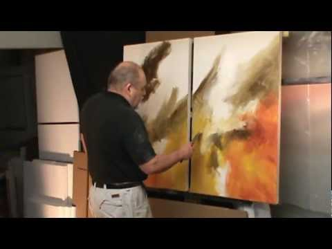 abstract painting demo. 'Sea Storm' creating movement and depth with color and blending