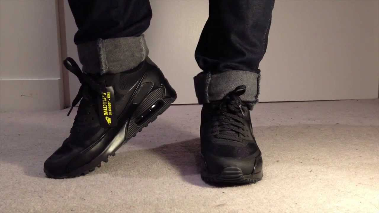 nike air max 90 black leather on feet 70abb571d5