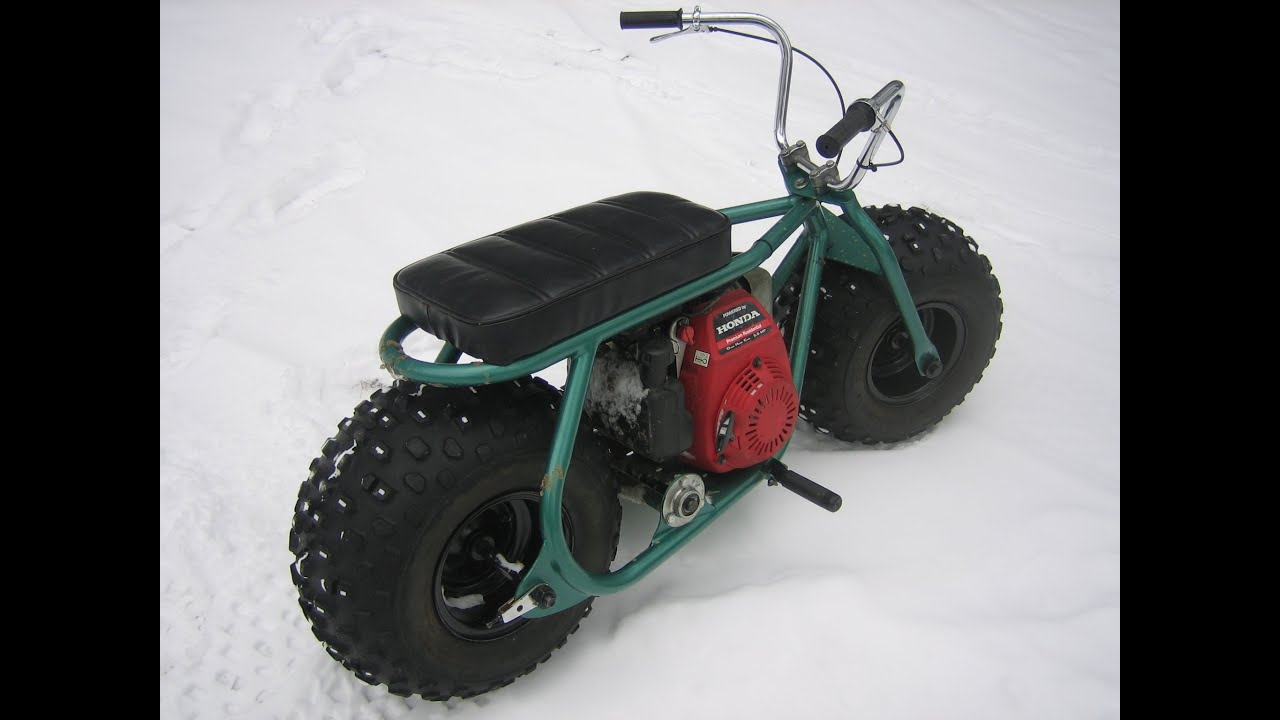 Fat Tire Homemade Custom Minibike In The Snow With Gc160