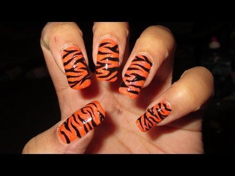 Freehand Tiger Stripes Nail Art Tutorial Nail Designs Video
