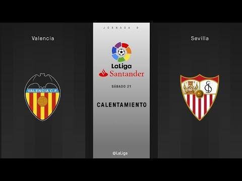 Calentamiento Valencia vs Sevilla