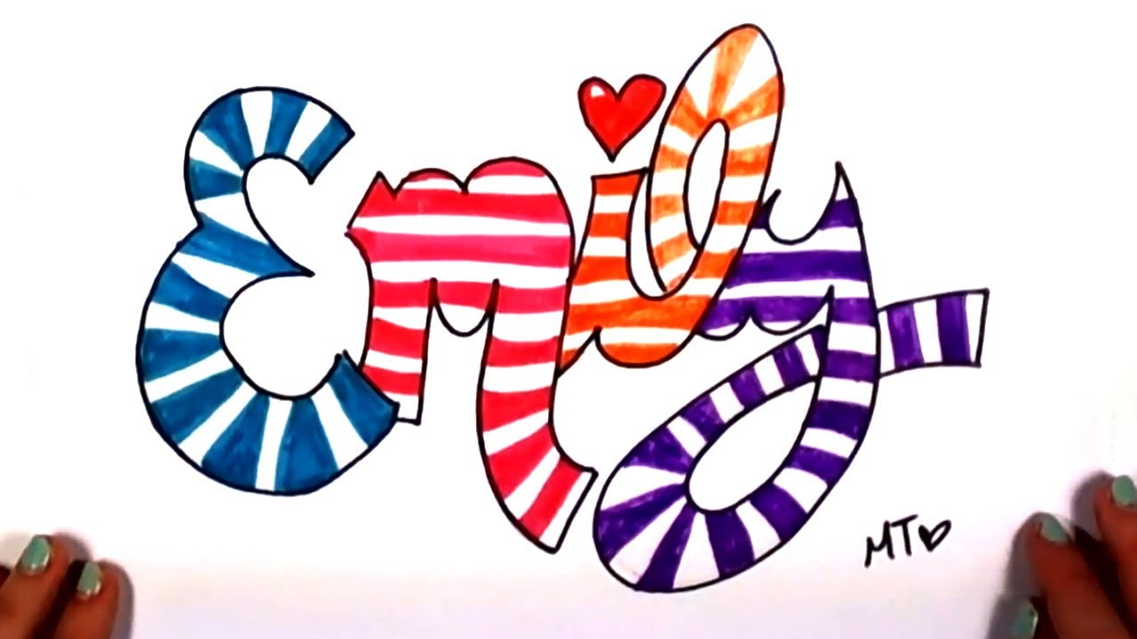 How to draw your name in cool letters emily in graffiti for Pretty ways to draw letters