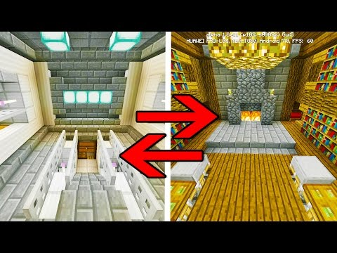 MCPE: Transforming Redstone Houses (2 IN 1 ROOM)