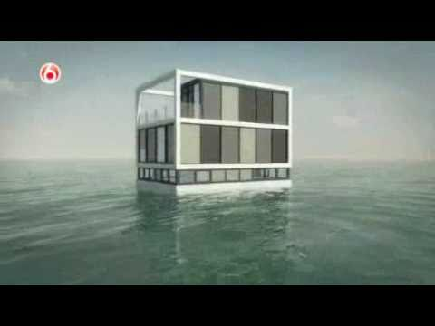 Building a floating house, showing the concept of construction
