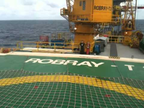 Takeoff from rig barge ROBRAY-T3