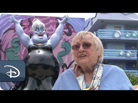 Actress Pat Carroll Adds Her Autograph to an Ursula Sketch at Disney's Art of Animation Resort