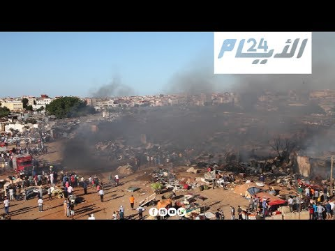 حريق ضخم بمحلات المفروشات في