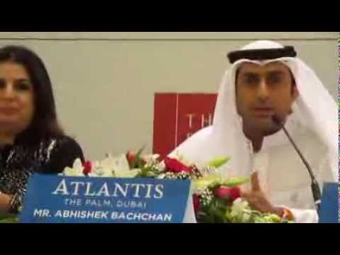 Abhishek Bachchan speaking at Dubai press conference for 'Happy New Year'