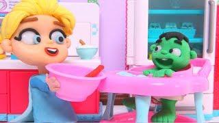 BABY HULK PLAY DOH CARTOONS ❤ Superhero & Frozen Elsa Cartoons For Kids ❤ Stop Motion Videos