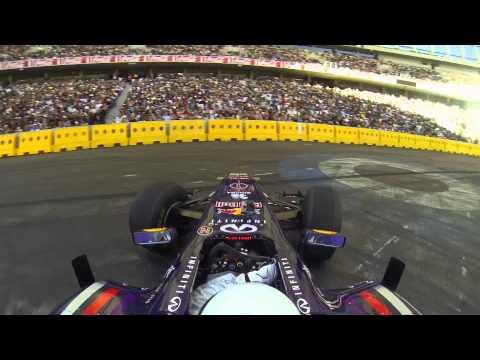 The Stig driving an Infiniti Red Bull Racing F1 car - Top Gear Festival Durban 2013