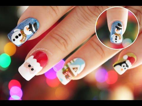 Decoración de uñas navidad MUÑECO DE NIEVE - Snowman nail art