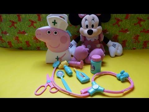 Trò chơi Bác Sĩ khám bệnh -y tá heo Peppa kham bệnh chuột Minnie (Bí Đỏ)