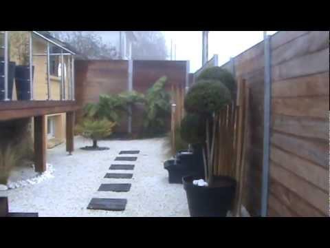 Terrasse bois exotique jardin zen et fontaine youtube for Jardin terrasse zen