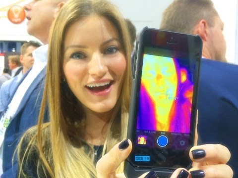 THERMAL IMAGING FOR YOUR iPHONE! FLIR ONE iPHONE 5S DEMO AT CES