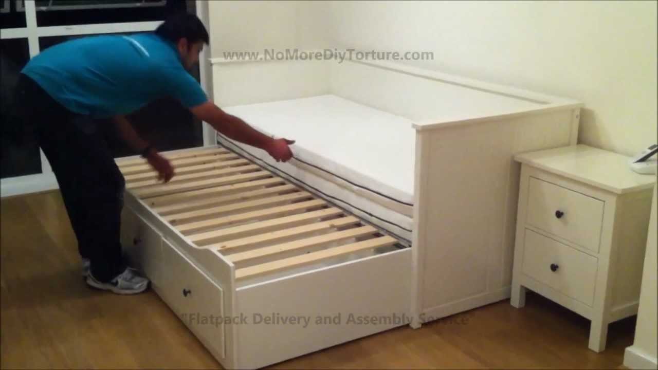 Ikea hemnes day trundle bed with 3 drawers white youtube
