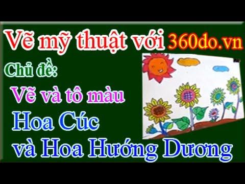 Học vẽ mỹ thuật với 360do.vn. Bài 2: Vẽ hoa Hướng Dương và hoa Cúc
