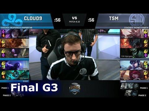 Cloud 9 vs TSM - Game 3 | Final of S8 NA Regional Qualifier for S8 Worlds 2018 | TSM vs C9 G3