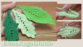 How To Crochet Two-Side Leaf With Chain Spaces In The