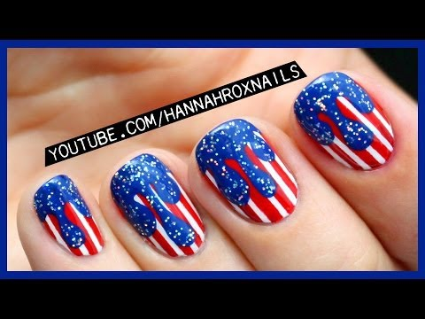 4th of July Drip Nail Art