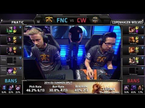 Fnatic vs Copenhagen Wolves | S4 EU LCS Summer split 2014 SuperWeek 1 Day 3 | FNC vs CW W1D3 G2