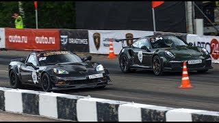 Porsche GT3 RS vs Corvette Z06 vs SLS AMG. DragTimes info video - Драгтаймс инфо видео.