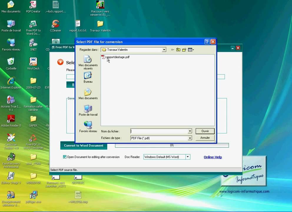 Tutoriel convertir fichier word en pdf et l 39 inverse - Convertir fichier pdf en open office ...