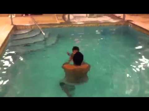 Aarush swimming and goes under water