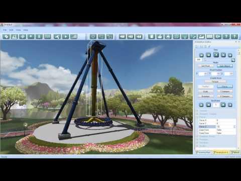 Theme Park Studio / Animation eines Flatrides (Attraktion)