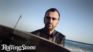 Ringo Starr Plays Drums on the Beach in Miami