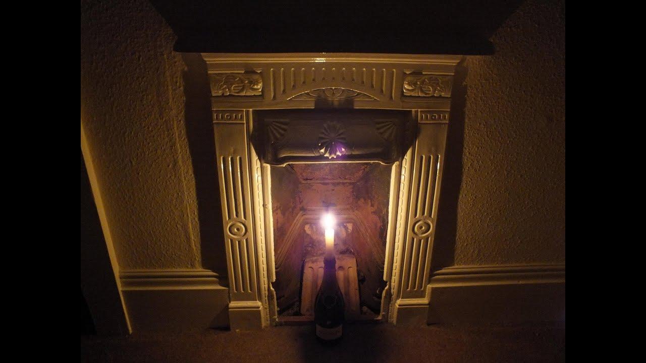 BURNING CANDLE LIGHT IN FIREPLACE VIDEO FULL HD FEU DE